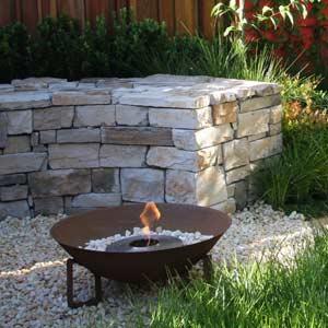Stacked stone garden seat